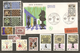Jeux D'échecs - Petit Lot De 12 Timbres° +1 FDC - YT 1480 - Kilowaar (max. 999 Zegels)