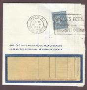 Perforé Société Du Caoutchouc Manufacturé - S C M - Semeuse Lignée 50 Centimes Turquoise 1938 Sur Facture - Perfins