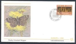 Liechtenstein 1985 Cover: EUROPA CEPT Music: Fauna Butterfly Schmetterling; Dusky Grizzled Skipper (Pyrgus Cacaliae) - Schmetterlinge