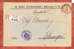 Einschreiben Reco, Bezirksnotariat, EF Ziffer, Innerhalb Ellwangen 1908 (37983) - Wuerttemberg