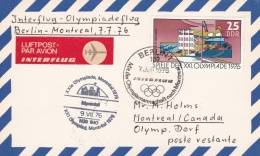 DDR With Special Flight Olympic Team To 176 Montreal Olympic Games From Berlin To Montreal (T15-25)
