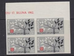 "Europa Cept 1962 Croatia ""Exile"" 1v Bl Of 4 (corner) IMPERFORATED ** Mnh (35694B) - 1962"