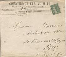15C SEMEUSE LIGNEE PERFORE M LETTRE ENTETE CHEMINS DE FER DU MIDI 20/03/19 - Perfins