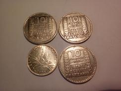 LOT DE 4 MONNAIES FRANCAISES EN ARGENT 1 FRANC 1920 SUP ET 10 FRANCS TURIN 1930/32/33 - K. 10 Francs