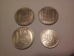 LOT DE 4 MONNAIES FRANCAISES EN ARGENT 1FRANC 1919 SUP ET 10 FRANCS TURIN 1931/33/34 - France