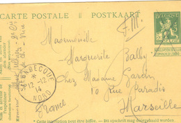 Sur Carte Entier Postal Belge ; Utilisation Franchise Militaire Pour Un Soldat Français . Oblitération Steenbecque 1914 - Postmark Collection (Covers)