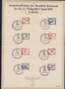 DR Sonderblatt Olympische Spiele 1936 Satz MiF MiNr.609-616 Berlin Olympialager - Deutschland