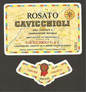 ITALIA - Etichetta Vino ROSATO EMILIA Cantine CAVICCHIOLI Di S.Prospero Rosato Dell' EMILIA-ROMAGNA - Carta Gegrafica - Vino Rosato