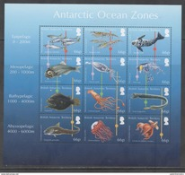 BRITISH ANTARCTIC TERRITORY, BAT,2016, MNH, OCEAN ZONES, FISH, SEALS, OCTOPUS, SQUID, SHEETLET