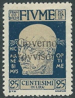 1921 FIUME GOVERNO PROVVISORIO 25 CENT MH * - G48-5 - Occupation 1ère Guerre Mondiale