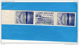 FRANCE-ERINNOPHILIE- Vignette-triptyque-CANNES 1930-20mars Journée Philatélique ***Neuve  Sans Ch - Commemorative Labels