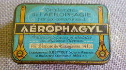 BOITE PUBLICITAIRE Metal - AEROPHAGYL - BEYTOUT DOCTEUR EN PHARMACIE  PARIS - Boxes