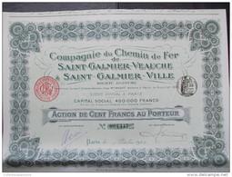 RARE - Magnifique Action Décorée. Compagnie Du Chemin De Fer De Saint Galmier-Veauche. Action De 100 Francs Au Porteur - Chemin De Fer & Tramway