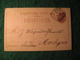 Regno Italia C. 7 1/2  Cartollina  Postale   Risposta  -  NARDINI GIUSEPPE FORNITORE DI SUA EMINENZA IL CARDINALE -  134