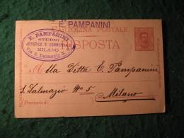 Regno Italia C. 7 1/2  Cartollina  Postale   Risposta  -  E PAMPANINI STUDIO ARTISTICO E COMMERCIALE  MILANO -  135