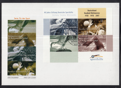 K 01 ) Germany 2007 Beautiful Large FDC  - 40 Years Of German Sports Aid  // Free Shipping To