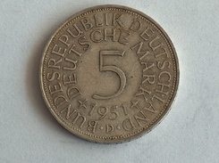 ALLEMAGNE 5 MARK 1951 D ARGENT SILVER Germany Deutschland - 5 Mark
