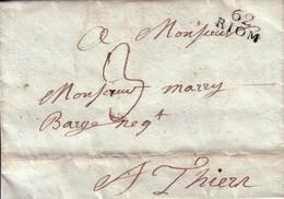 PUY DE DOME - 62 RIOM - TAXE 3 MANUSCRITE - SANS TEXTE. - Marcophilie (Lettres)