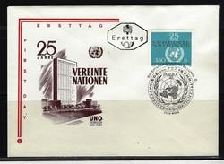 ÖSTERREICH - FDC Mi-Nr. 1347 - 25 Jahre Vereinte Nationen (UNO) Stempel Wien (15) - FDC