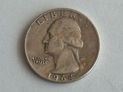 Etats-Unis, United States, USA - Quarter 1/4 Dollar 1964 - Silver, Argent - Federal Issues