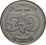 """5 EURO 2008 """"50 Ans Les Schtroumpfs (Smurfen)""""  *QP* Quality Proof  - ARGENT - SILBER - SILVER - Belgium"""