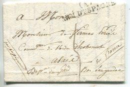 (A) Armée D'Espagne ,9 Août 1823, Lettre De Villa Nouva (région De Barcelone) Avec Texte Pour Alais (gard),par Perpignan - Marcophilie (Lettres)