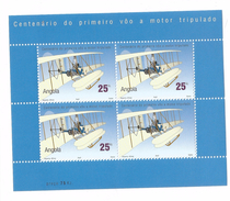 2003 Angola Anniversary Of Flight Miniature Sheet Of 3 + Label Complete Set Of 1 MNH
