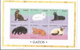 1998 Angola Cats Chats Miniature Sheet Of 6 MNH