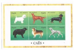 1998 Angola Dogs Chiens Miniature Sheet Of 6 MNH