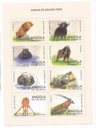 1998 Angola African Mammals Lions Hippo Giraffe Elephant Miniature Sheets Of 8 MNH