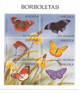 1998 Angola Butterflies Papillions 3 Miniature Sheets Of 6 MNH