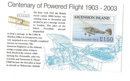 2003 Ascension Powered Flight Aviation Airplanes Souvenir  Sheets Of 1 MNH - Ascension (Ile De L')