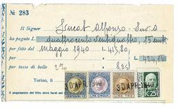 RECU 1940 ITALIE COMMUNE MAGGIO TIMBRES FISCAUX - Italie