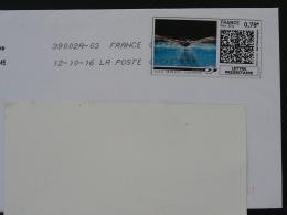 Natation Swimming Timbre En Ligne Sur Lettre (e-stamp On Cover) TPP 3329