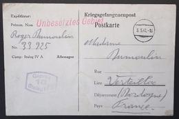 CP Accusé Réception COLIS Prisonnier De Guerre STALAG IV A Elsterhorst Vers Verteillac Avril 1941 - WW II