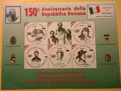 FOGLIETTO 150 ANNI REPUBBLICA ROMANA - Afiches