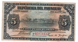 Paraguay 5 Pesos Fuertes, L.1923 , F/VF. Free Ship. To USA. - Paraguay
