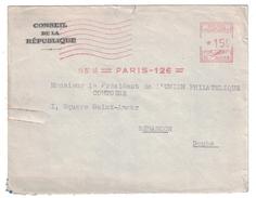 1952 - EMA ROUGE À 15F DE PARIS 126 SUR LETTRE A ENTETE DU CONSEIL DE LA REPUBLIQUE POUR BESANÇON DOUBS - EMA (Print Machine)