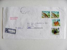 Cover Sent From Seyshelles 1981 Registered Victoria Mahe Animals Lizard Butterfly Papillon Bat Flying Fox Green Gecko