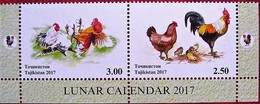 Tajikistan  2017  Year Of The Rooster.  Lunar  Calendar   2 V  Perforated. MNH - Tadschikistan
