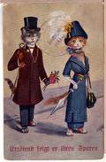 POSTCARD CATS DRESSED FASHIONABLE WOOING ARTIST-SIGNED SCHROPLER 1920 - Katten