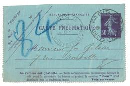 1912 - DEVANT DE CARTE PNEUMATIQUE AU TYPE SEMEUSE 30c VIOLET CAD HOROPLAN DE PARIS 8 BD DES ITALIENS