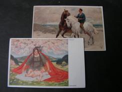 2 Primus Karten 5030 Und  5199 , Mutter Glück Und Der Strandreiter * - Künstlerkarten
