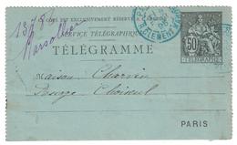 1895 - TELEGRAMME TYPE CHAPLAIN PNEUMATIQUE CAD BLEU AVEC LETTRE T DE PARIS 86 RUE CLEMENT MAROT