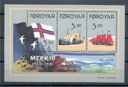 Faroe Islands 50 YEARS OF FLAG SOUVENIR SHEET 1990 - Féroé (Iles)