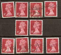 Great Britain 1971 8p Red, Machin Decimal Good Used X10 - Vrac (max 999 Timbres)