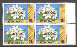 "KIRIBATI 30 CENTIMES OFFICIAL ""FLOWER"" RARE ISSUE ON WATERMARKED PAPER - Kiribati (1979-...)"