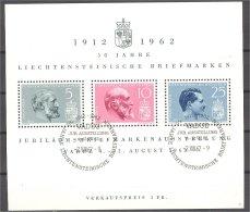 LIECHTENSTEIN, SHEETLET 50 YEARS OF LIECHTENSTEINIAN  STAMPS 1962, U