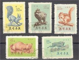 NORTH KOREA, WILD ANIMALS 1962, USED SET - Corée Du Nord