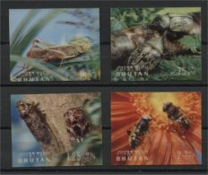 BHUTAN, 4 STAMPS INSECTS, ALL 3D, MINT NEVER HINGED - Bhoutan